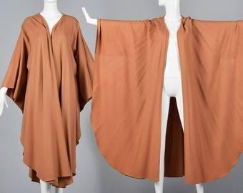 1980s Wool Cape Bohemian Poncho Autumn Outerwear Vintage 1980s Avant Garde Wrap Loose Flowy Fall Coat