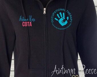 Monogrammed Ladies/Unisex Full-Zip Hooded Sweatshirt Occupational Therapy OT COTA Customized Personalized XS - 5XL Jacket