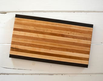 Handmade Wood Cutting Board Serving Tray Handmade with Maple Walnut Cherry Wood Kitchen Utensil Rectangle