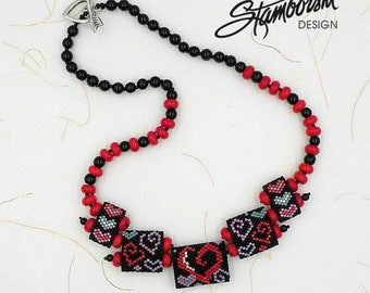 Crazy Hearts carrier beads Peyote Necklace Pattern