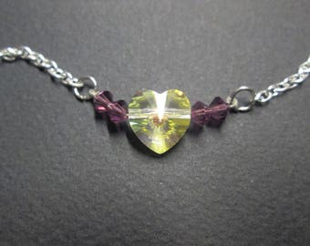 Necklace chenet - te brass and Crystal heart