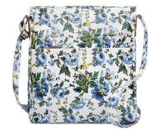 Crossbody College laptop Bag - Floral - Oilcloth computer school bag - Work messenger bag - Ladies purse- University bag- Laminated cotton