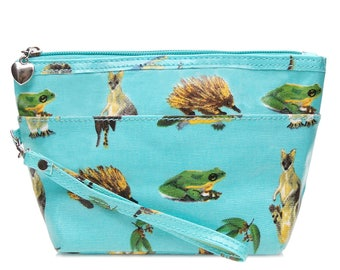SALE! Oilcloth Medium Makeup case- Australian native animal - Koala bear - Oil cloth ladies zip beauty pouch- Cosmetic bag- laminated cotton