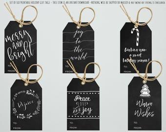 Christmas Gift Tags, PRINTABLE Gift Tags, Happy Holidays, Rejoice, Joy To The World, Chalkboard Gift Tags, Typography, Printable Holiday