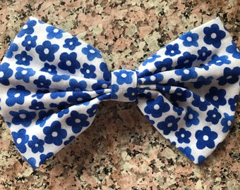 White with Blue Flower Hair Bow