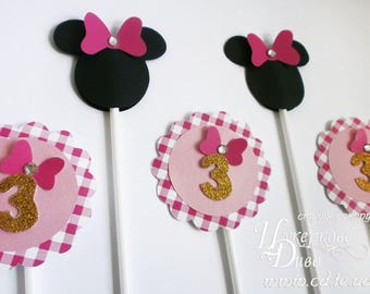 Set Pink, Gold, Black Minnie Mouse Cupcake Toppers - custom toppers minnie - Minnie Mouse Party Decor sweet table -  1 Years cupcake topper