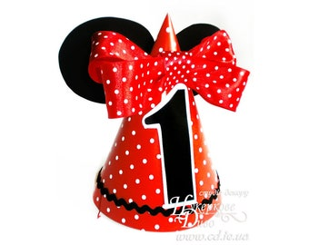 Paper hat 1st Minnie Mouse Red and Black-First Birthday Party Minnie Mouse Hat-Minnie mouse inspired-party hat headband- Girl Polka Dot hat