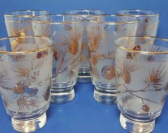 Seven Vintage Frosted Glasses With Gold Pine Cones, 1960's