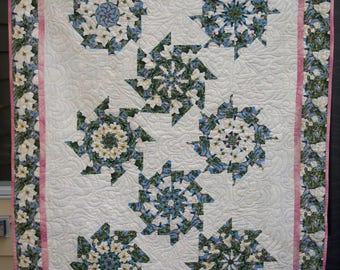 """Homemade Stack and Wack pattern lap or bed quilt  75"""" x 54"""""""