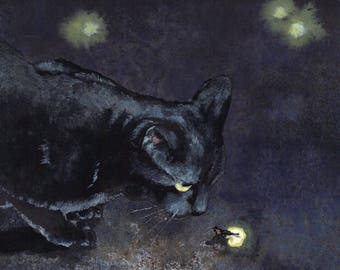 "Watercolor Greeting Card, ""Kindred"" with Black Cat and Lightning Bug"