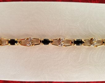 BR110 Vintage Onyx and Diamond Bracelet