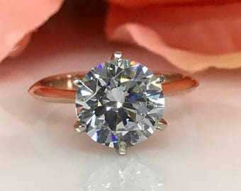 3.00 Carat Round Brilliant Cut Simulated Diamond Solitaire  Engagement / Wedding / Anniversary Ring Solid 14K Rose Gold #5123