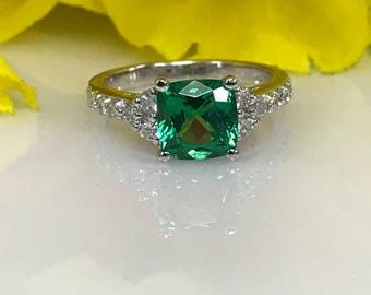 Beautiful  Emerald Asscher Cut and Genuine Diamond  Ring  set in 14k White Gold #5133