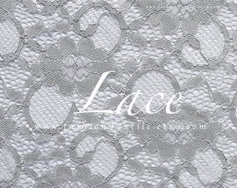 Grey lace fabric stretch lace by the yard