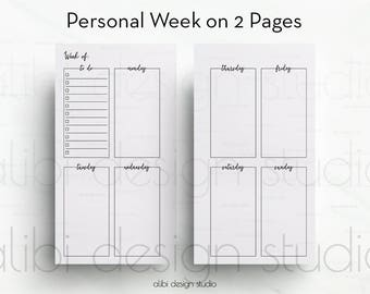 Weekly Planner, Personal Planner, Week on two Pages, Planner Printable, Daily Planner, Undated Planner, Personal Planner Inserts, Undated