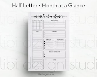 Month at a Glance, Half Letter, Monthly Planner, Planner Refill, A5 Filofax, kikki K Large, Half Size Inserts, Planner Printable, To Do List