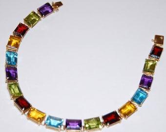 10K Yellow Gold Amethyst Garnet Topaz Emerald-C Gemstones Tennis Bracelet 11g