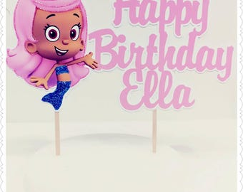 Bubble Guppies--Inexpensive Personalized Cake Toppers with Name & Character--Kid's Birthday Party Decorations