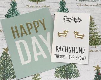 Dachshund Earrings, Dachshund, Dog Earrings, Christmas Earrings, Dachshund Through The Snow, Dachshund Jewelry, Dog Jewelry