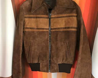 Vintage 1970's brown suede bomber jacket