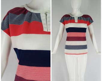 Vintage Womens 1970s / 1980s Jantzen Pink White and Navy Blue Stripe Short Sleeve Pullover Mesh Top | Size S