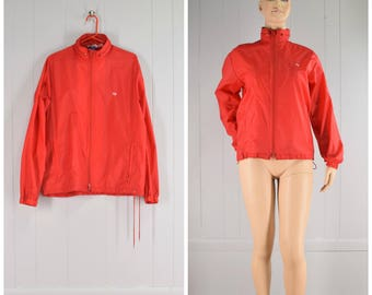 Vintage 1980s Red Op Ocean Pacific Nylon Windbreaker Zip Front Jacket | Size: Womens L/Mens M
