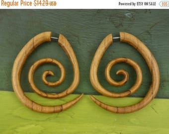 on sale Upside Down Spirals Fake Gauges Wood Earrings - Free Shipping