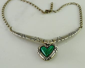 """C Pollack Signed Sterling Turquoise Heart Necklace 17.5"""" or less adjustable"""