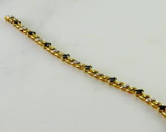 """7 1/4"""" Gilt Black Stone Sterling Silver Bracelet  China 925"""