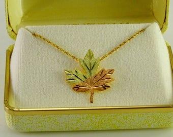 """Black Hills Gold 10 K Leaf Pendant on a 18"""" Gold Filled Chain"""