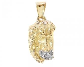 14K Yellow Gold Christ Head Charm Pendant