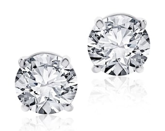 4.00ct Round Brilliant Cut Screwback Basket Stud Earrings Solid 14K White Gold