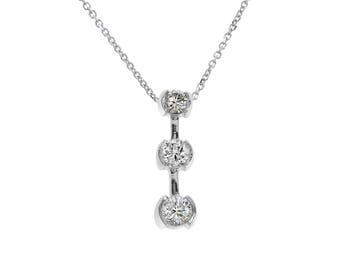 0.90 Carat Round Diamond Three Stone Journey Pendant on Cable Chain 14K White Gold