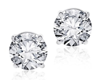 1.40 Carat Round Cut Diamond Stud Earrings F-G/VS2 14K White Gold