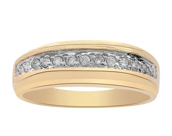 0.20 Carat Round Cut Diamond Men's Ring 14K Yellow Gold