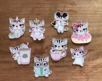 "Cute cat die cuts. 3"" die cuts. Petfect for decorating a planner, journal, travelers notebook, or scrapbook page. Can be laminated."