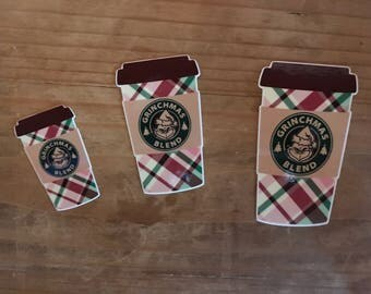 Grinch coffee die cut. Plaid coffee cup. Planner decorations, supplies, accessories. Travelers notebook.