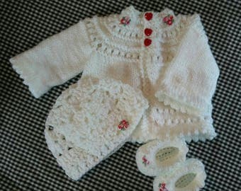 Hand Knit Baby Sweater Set 0 - 3 Months