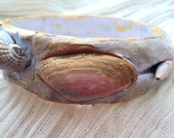 Jewel-bracelet in fimo-bracelet blue-shells painted-golden wax-bracelet woman