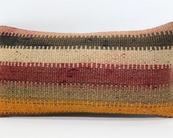 10x20 Naturel Lumbar Kilim Pillow Sofa Pillow 10x20 Decorative Kilim Pillow Ethnic Kilim Pillow Home Decor Cushion Cover  SP2550-1082