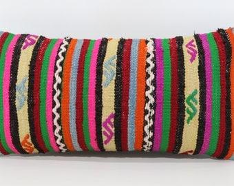 Handwoven Kilim Pillow Sofa Pillow Floor Pİllow 12x24 Patterned Kilim Pillow Throw Pillow Lumbar Kilim Pillow Cushion Cover SP3060-970