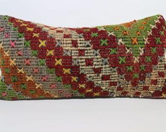 12x24 Embroidered Kilim Pillow Multicolor Kilim Pillow 12x24 Handwoven Kilim Pillow Turkish Kilim Pillow Sofa Pilow SP3060-1349