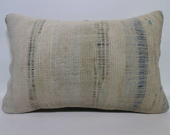 Cotton Kilim Pillow  Anatolian Turkish Kilim Pillow 16x24 Turkish Kilim Pillow Decorative Kilim Pillow P4060-899