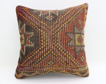 20x20 Kilim Pillow Cover Embroidered Kilim Pillows 20x20 Anatolian Kilim Pillows Sofa Pillows 50x50 Ethnic Pillows Cushion Cover SP5050-2794