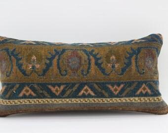 12x24 Pillow Rug Pillow Turkish Carpet  Pillow Throw Pillow 12x24 Floral Pillow Multicolor Pillow Striped Pillow Yellow Pillow SP3060-1671