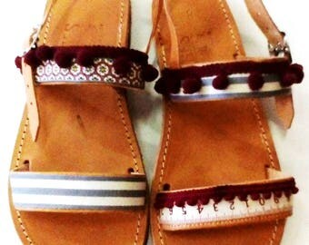 leather sandals, greek sandals, boho shoes, flat sandals, handmade leather shoes, womens shoes, girls sandals, gift for girlfriend, size 9