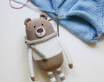 Soft Crochet Toy/ Bear Toy/ Teddy Bear/ Children Toy/ Bear in Sweater/ Kids Toy/ Gift for Boy/ Gift for Girl/ White Toy Bear/ Brown Toy Bear