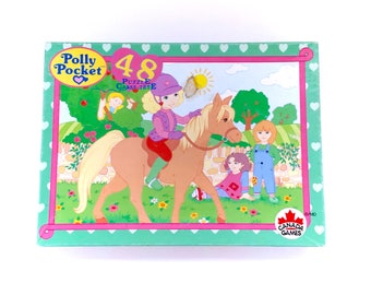 Vintage Polly Pocket Jigsaw Puzzle COMPLETE 48 Pieces Canada Games RARE French Canadian Rare 90s Original 1990s Retro Pastel Aesthetic