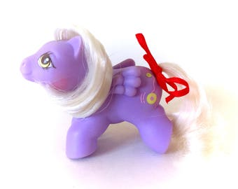 G1 My Little Pony Newborn Yo-Yo Baby Vintage Original 1987 MLP Twin Babies Ponies Purple Pegasus Winged Record Music 80s Kawaii Fairy Kei