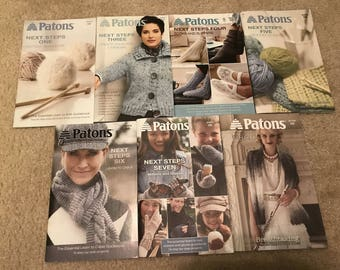 Lot of 7 PATTON pattern books  - learn to Knit & Crochet- Next Steps